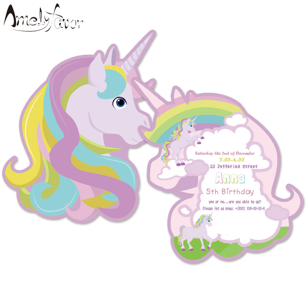 Rainbow Unicorn Theme Undangan Kartu Ulang Tahun Unicorn