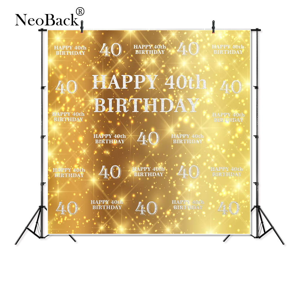 Thin Vinyl happy <font><b>40th</b></font> <font><b>birthday</b></font> twinkling glitter aristocrat Photography studio Backgrounds Professional Indoor Photo <font><b>Backdrops</b></font> image