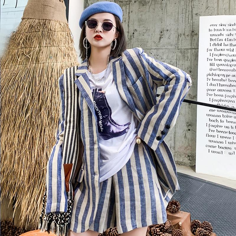 Picture Robe Mode Large Picture Printemps Nouveau Slim Veste Pour Vêtement Costume as Petit Leggings Rayé As 2019 Revers Vintage Femme Za011605 Deat PanqHzP