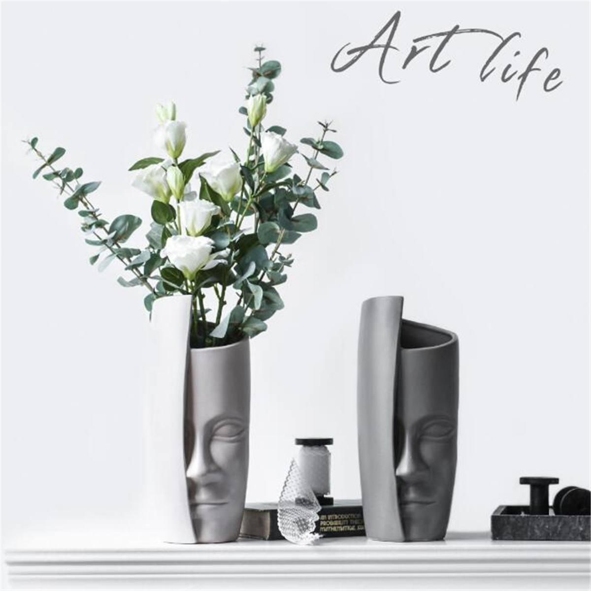 Nordic Face Art Vase Ceramic Flower Arrangement Vase Vintage Artificial Flower Vases Ceramic Creatives People Face Big Vase Pot