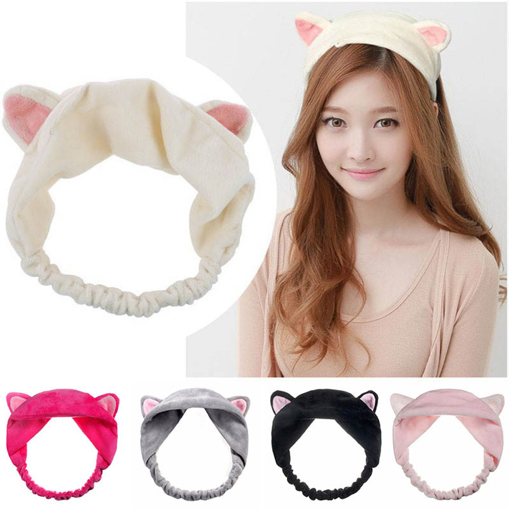 Women Ladies Cat Ears Headband Cute Yoga Makeup Elastic Hair Bands Turban Girls Velvet Knotted Headband Pink Yellow White Black