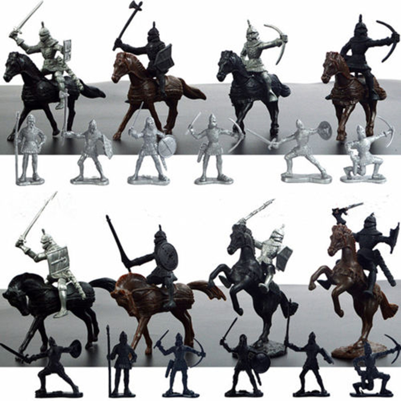 28PCS Medieval Knights Warriors Soldiers Figure Model Toy Playset Kids Xmas Gift