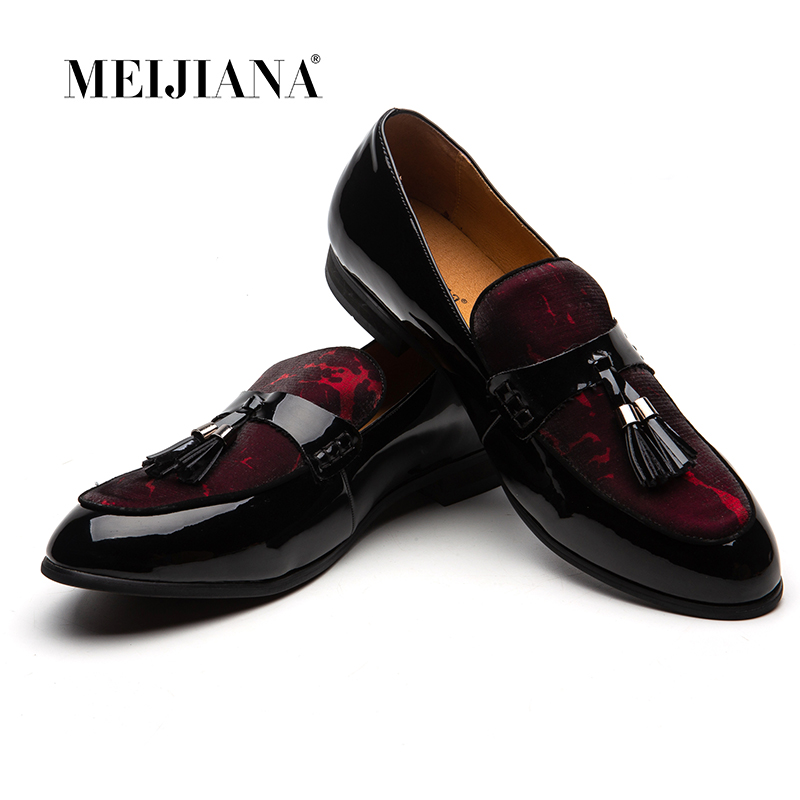 Masculinos Respirável Homens Meijiana Mocassins Festa Couro Vermelho Com Da Preto De Sapatos Moda on Slip 5AAqaEw