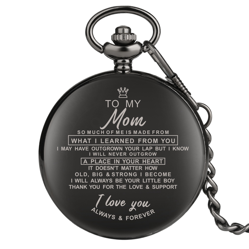 Engraved Greeting Words I LOVE YOU Quartz Pocket Watch Chain Clock Gift Souvenir Birthday Family Gifts For Dad Mom Son Daughter