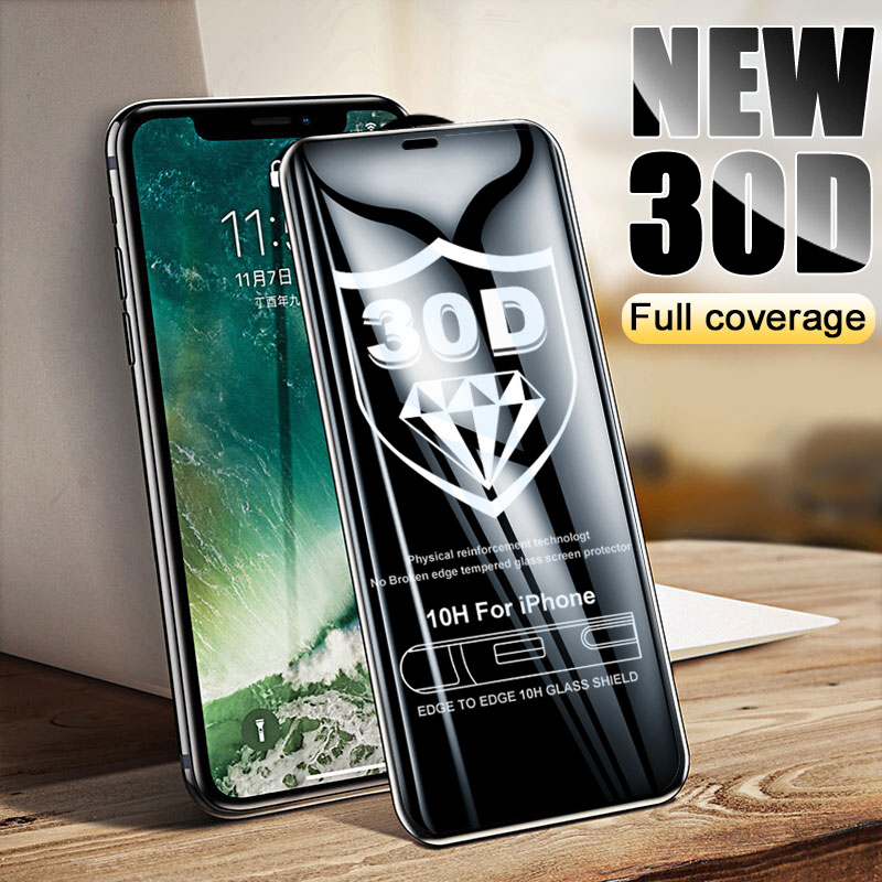 30D Curved Edge Protective Glass on For iPhone X XR 10 XS MAX Full Screen Protector For iPhone 6 6s 7 8 Plus Tempered Glass Film image