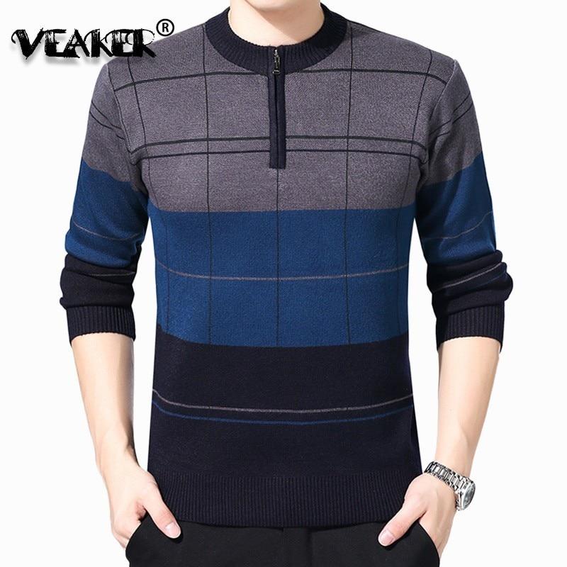 Sweaters Men Warm-Cardigan O-Neck Knitted Wool Cashmere Zipper Male Autumn Winter 4XL