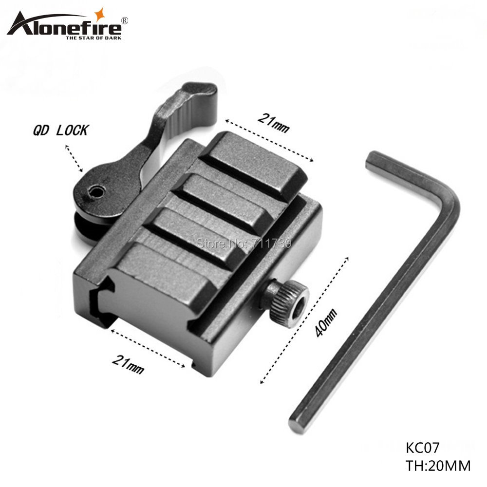 1PC KC07 QD 20MM/21mm Extend Quick Release Mount Adapter For Bipod Mount Scope Hunting 21mm Extension Picatinny Weaver Mount