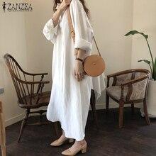 2019 Fashion ZANZEA Women Long Sleeve Maxi Dress Kaftan Cotton Linen Work Vestido Casual Shirts Baggy Robe Femme Plus Size