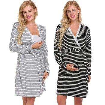 05568eab5 Ropa de dormir vestido de maternidad Pijamas de lactancia enfermería ropa  para mujeres embarazadas embarazo alimentación vestidos Pijamas