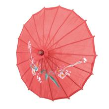 "Flower Print Red Cloth Bamboo 21"" Dia Chinese Oriental Umbrella Parasol(China)"