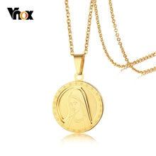 d9d086ef6ac8 Vnox Casual mujeres collar 3D Madonna Maria colgante de acero inoxidable de  Color oro moneda collares 20