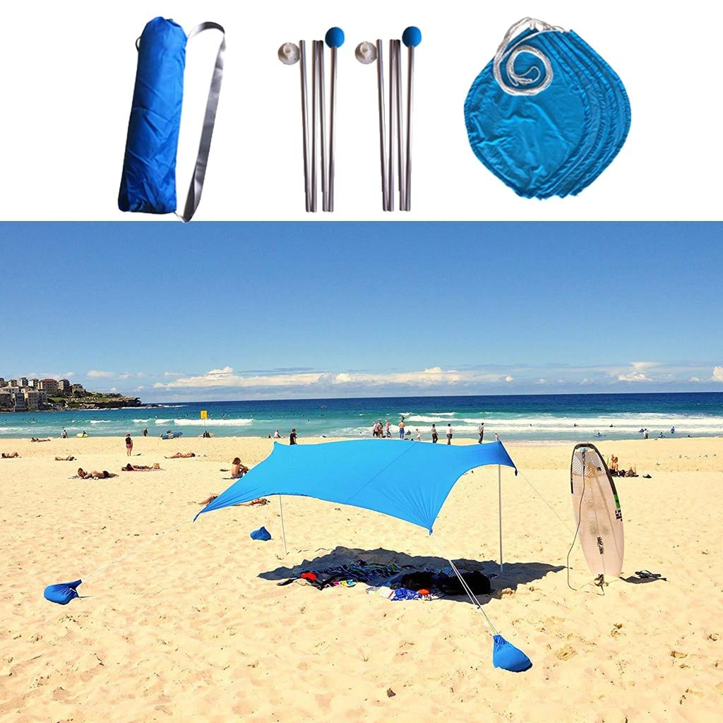 3 4 persona Spiaggia Parasole Baldacchino UPF50 Protezione UV Ripari per il sole Tarp Tenda - 2