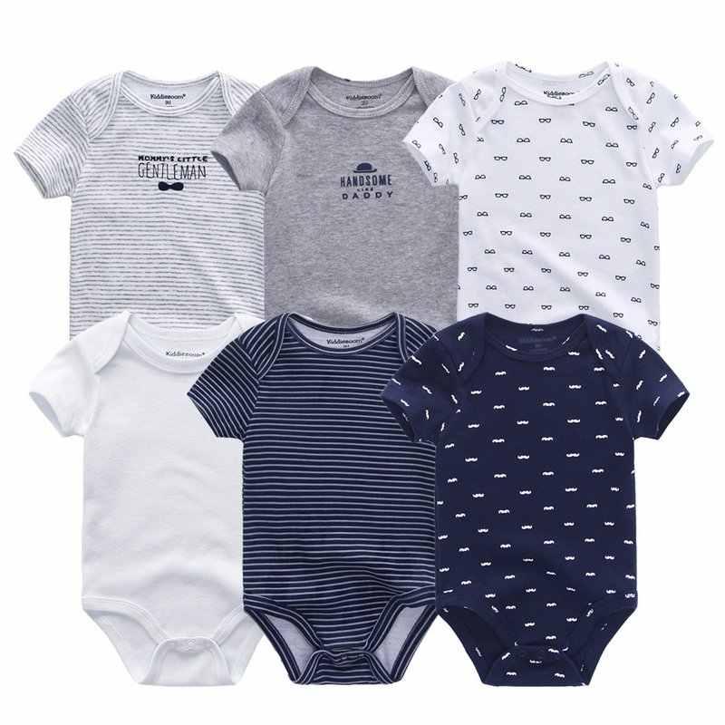 2019, 6 шт./партия, одежда унисекс с единорогом для маленьких мальчиков, хлопковая детская одежда, комбинезоны для новорожденных, одежда для маленьких девочек 0-12 месяцев, Roupa de bebe