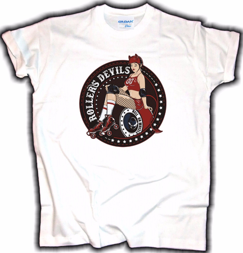 4179ba55900 US $12.74 15% OFF|2019 Brand Printing Fashion Clothing Old School T Shirt  Roller Devils V8 Pin Up Rockabilly Wheel Truck Tattoo Hot Rod Tee Shirt-in  ...