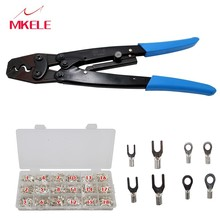 цена Multi Tool HM-16 Wire Crimper Ratchet Crimping With Terminal connector 840PCS Crimping Pliers Non Insulated Wire Crimping Tool в интернет-магазинах