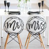 Adeeing Mr Mrs Series Wooden Chair Signs Photo Props Wedding Chair Back Pendant Decoration New Year