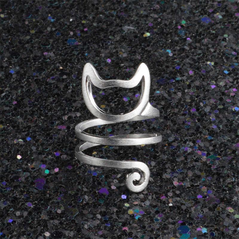 הגעה חדשה מחשב שחור חוט פתוח בעלי החיים זהב חתול באיכות גבוהה מתכוונן כסף זוגות טבעת האהבה מתנה