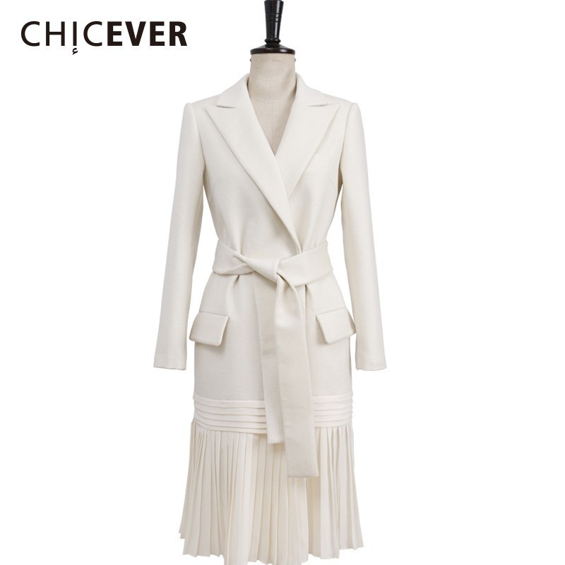 CHICEVER Autumn   Trench   Coat For Women's Windbreaker Lapel Long Sleeve High Waist Lace Up Blazer Female Coat Fashion Clothing New
