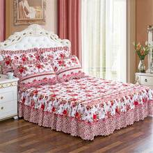 150*200cm Pastoral Bed Skirt Solid Bed Cover Sheets Bed Cotton Quilted Lace Bedspread Lace Bed Sheet Pillowcase Dropshipping(China)