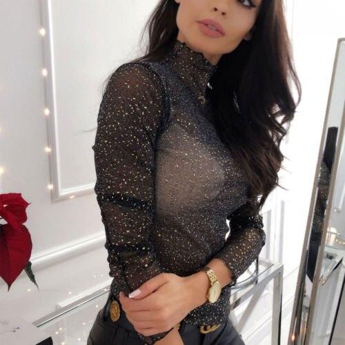 Fashion Women's Mesh Perspective Long Sleeve Shirt Sexy Casual High Neck Polka Dot Top