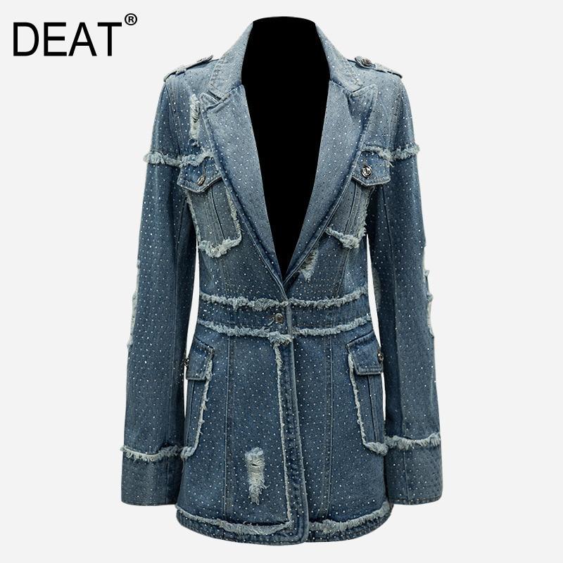 DEAR 2019 new spring high street turn down collar full sleeves denim blue washed tassels single