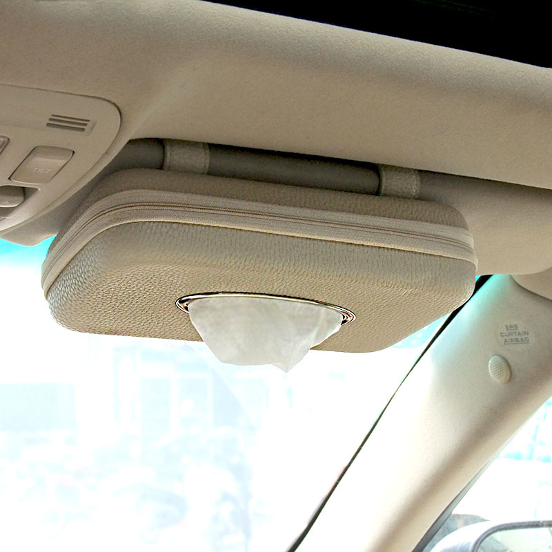Car Napkin Holder Hanging Tissue Box Auto Sunshade Storage Boxes Microfiber Leather Sun Visor Tissue Paper Holders