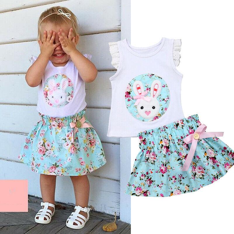 USA Newborn Kids Baby Girls Tops T-shirt Floral Overall Skirt Dress Outfits 1-5T
