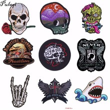 Pulaqi Punk Skull DIY Iron On Patch Embroidered Cute Badges Hippie Kids Cartoon Patches For Clothes Stickers Badge H