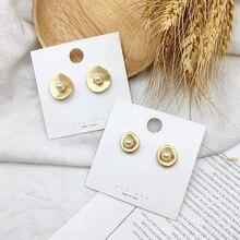 2019 Korean Earrings Vintage Pearl Metal Matte Gold Round Geometry For Women Baroque Wedding Jewelery