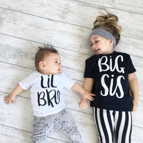 Matching Tops T-Shirt Girls Big Sister Baby-Boy Cotton Summer And Tee