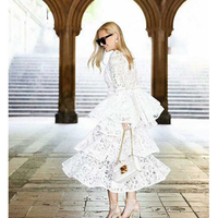 Hot Sale Women Elegant Cascading Ruffles Flare Sleeve Water Soluble Lace Vestido Ladies Party Evening White Dresses Jc2440