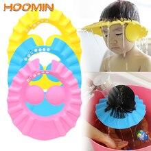 HOOMIN baño lavar el pelo gorra con protección para las orejas niños Cap champú gorros de ducha bebé ducha sombrero protector seguro suave sombrero ajustable