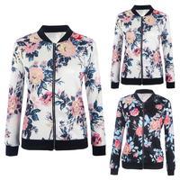 Женская Байкерская камуфляжная куртка-бомбер с цветочным принтом, верхняя одежда, пальто