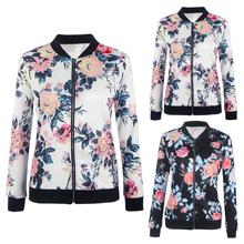 Women Biker Celebrity Camo Flower Floral Print Bomber Jacket Outwear Coat camo print mixed