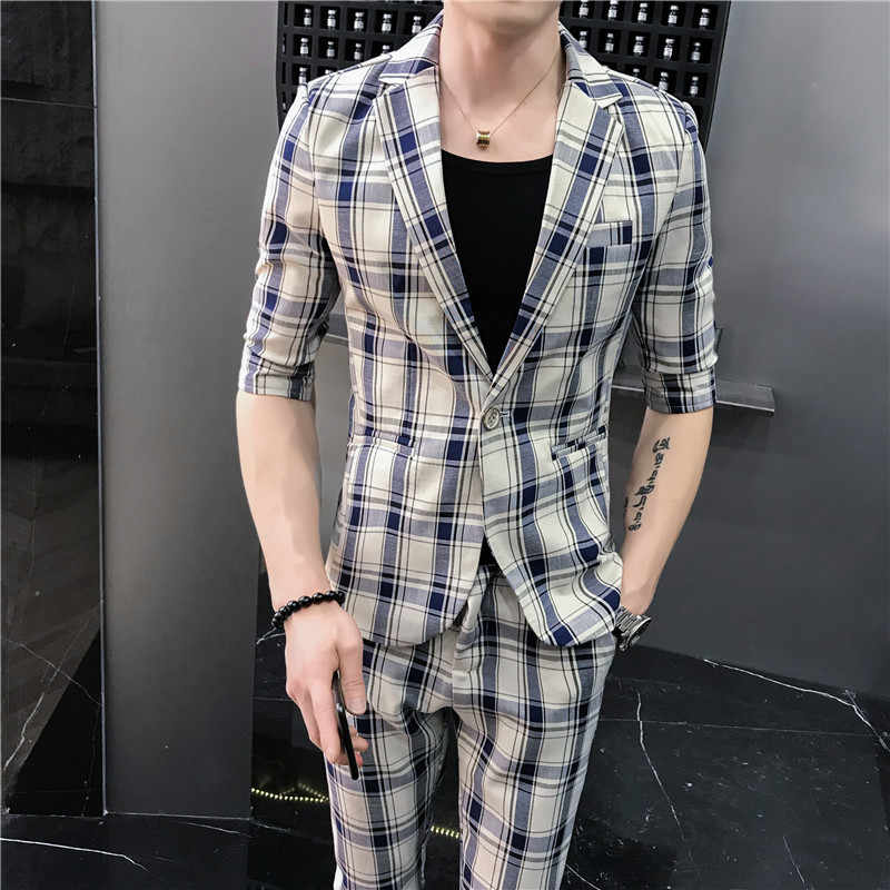 2019 Plaid Wedding Suit Designers Short Sleeve Men Suit Summer Fashion Prom Tuxedo Costume Homme Casual Slim Fit Suits 2pcs Set