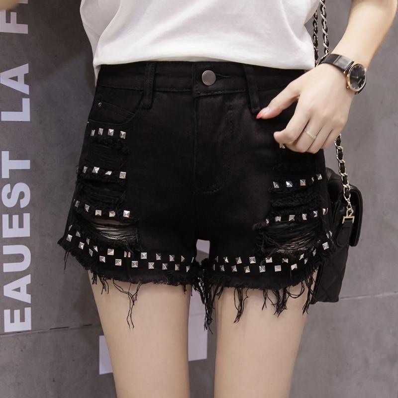 Plus Size Denim Women   Shorts   Womens Sexy Rivets Tassel Ripped Jeans Summer Hot   Shorts   Black Holes Wide Leg Casual   Shorts   Female