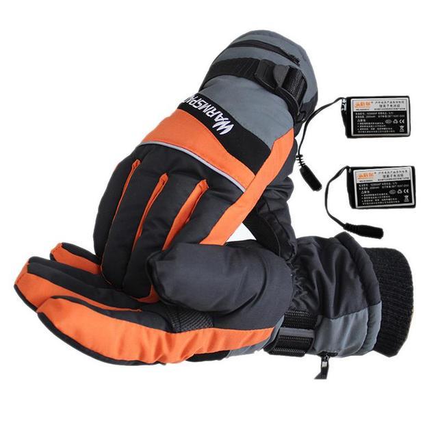 1 זוג חורף USB יד חם רכיבה על אופנוע אופניים סקי כפפות חשמלי תרמית כפפות נטענת סוללה מחומם כפפות