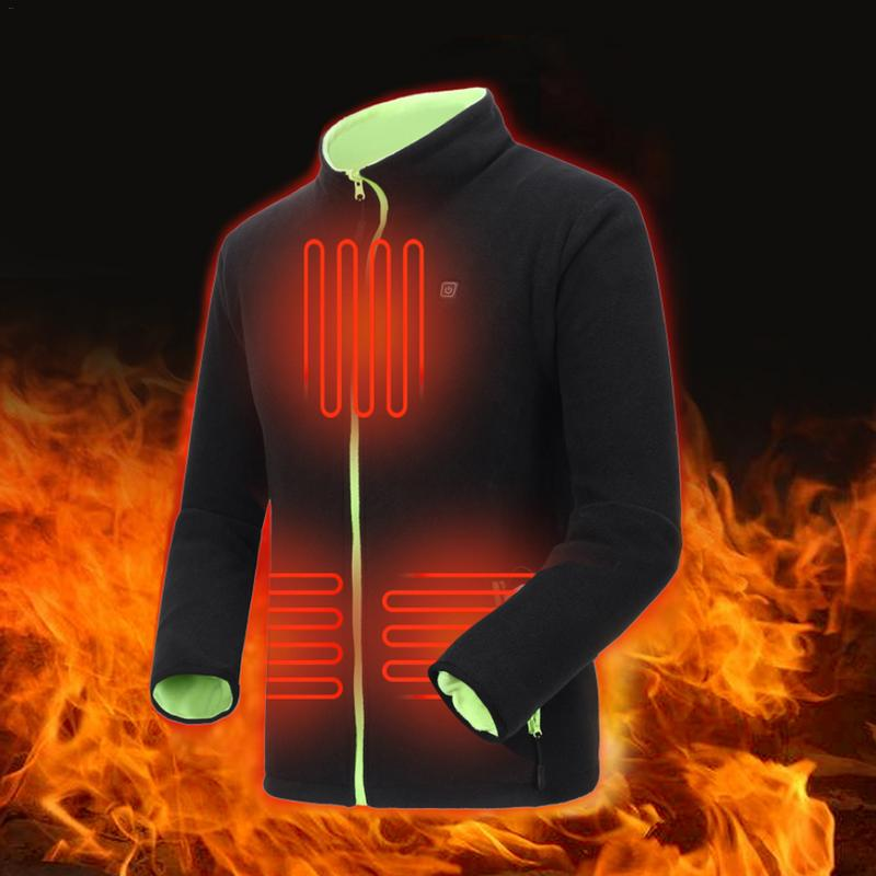Double Side Wear Outdoor Men Electric Heated Jacket USB Heating Vest Winter Thermal Cloth Camping Hiking Warm Hunting Jacket