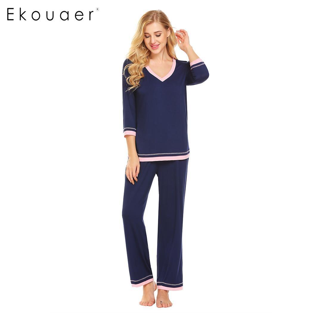 Ekouaer   Pajamas     Set   Women Soft Sleepwear Suit V-Neck 3/4 Sleeve Patchwork Loose T-Shirt And Pants Pyjamas   Sets   Female Homewear