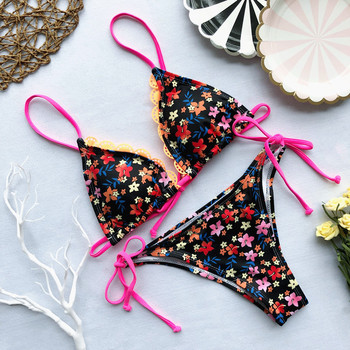 Flower Swimsuit Women Bikini Sexy Swimwear 2019 Summer New Bandage Women Bathing Suit Push Up Padded Biquini Monokini Beachwear 6