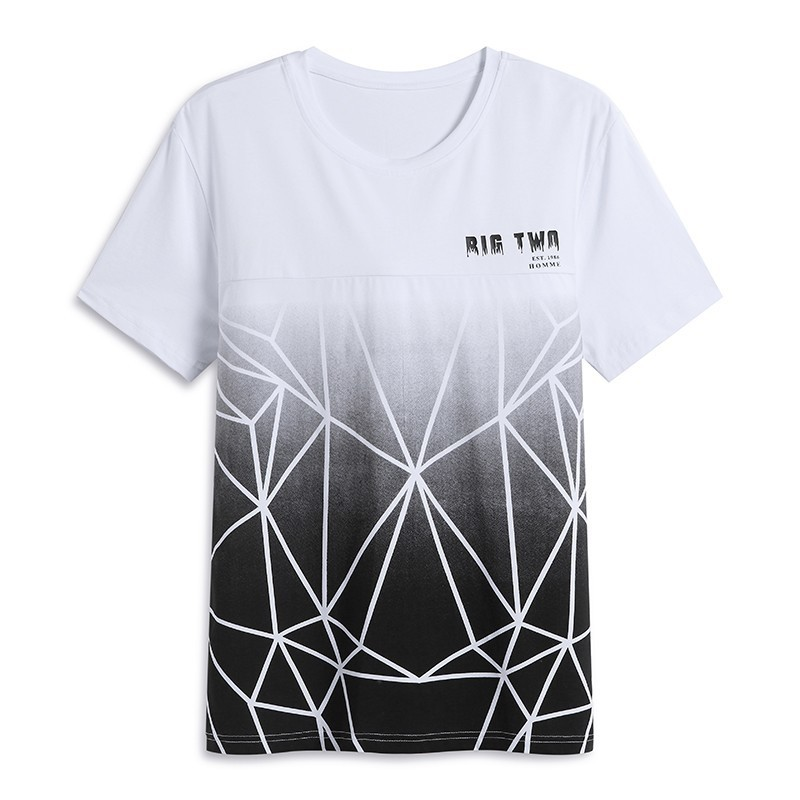 Pioneer Camp Summer Man Gradient  T-shirt  Short Sleeve Grey Black Stripe Men's Clothing  ADT803097