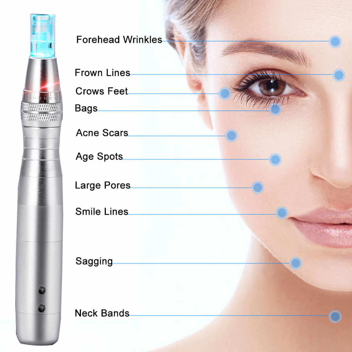 7 цветов светодиодный микро-иглы для стимуляции подтяжки кожи, удаления шрамов, уменьшения морщин, устройство для растягивания кожи, ручка dr derma