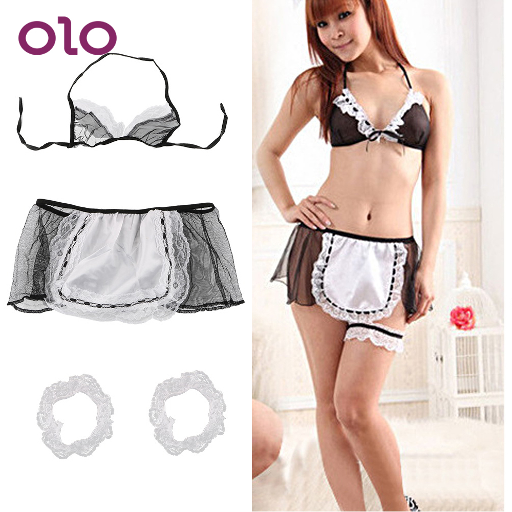 OLO Erotic Lingerie Sexy Underwear Exotic Apparel Maid Uniform Open Crotch Ladies Sexy Lingerie Cosplay Costumes Adult Products