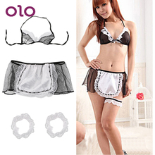 OLO Erotic Lingerie Sexy Underwear Exotic Apparel Maid Uniform Open Crotch Ladie