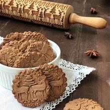 Christmas Embossing Rolling Pin Wood Reindeer Engraved Roller Baking Cookies Noodle Biscuit Fondant Cake Dough Engraved Roller