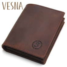 купить Vesna Rfid Blocking Short Wallets Crazy Horse Leather Wallet Men Genuine Leather Purse Card Vintage Male For Men Small Money Bag по цене 713.84 рублей