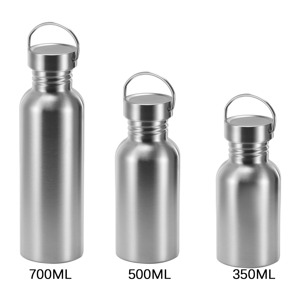 Stainless Steel Water Bottle Non-insulated BPA Free Leak-proof Single Walled Sports Bottle Jug for Sport Hiking  350 500 700ML