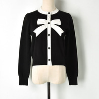 Sweet Cardigan Female Black White Color Block Bow Patchwork O neck Single Breasted Knitted Sweater Women Cute Jumper