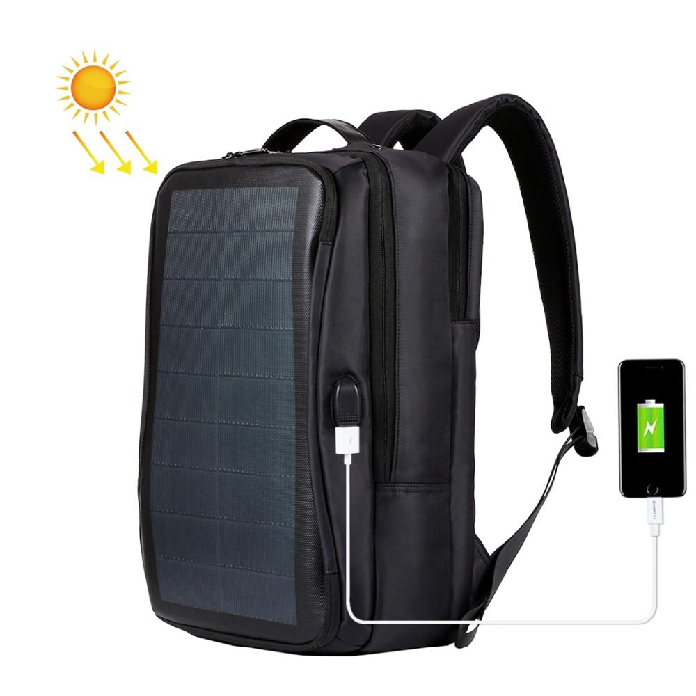 JHD HAWEEL Outdoor Solar Backpack Bags Flexible Solar Panel 14W Power Backpack Laptop Bag Handle USB