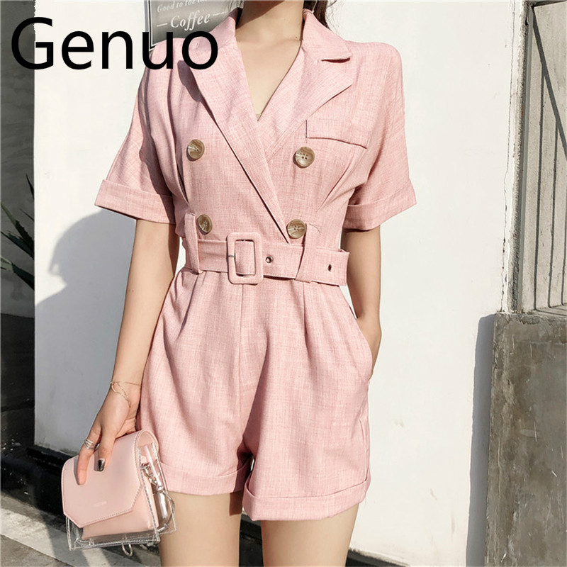 OL Jumpsuit Women Romper+Sashes 2019 Summer Bodysuit Elegant Party Sexy Solid Playsuits Short Sleeves Short Pant Overalls